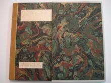 Bound book with slipcase, velum edges, marbled sides (velum taken from original binding.)